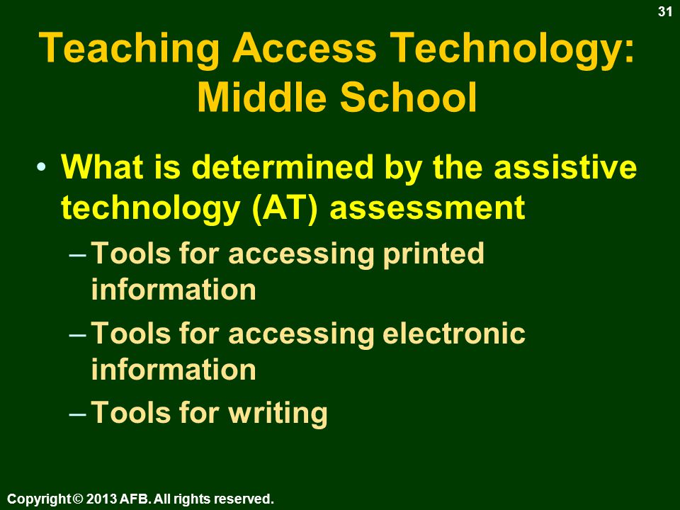 Teaching Access Technology: Literacy Technology literacy –Some states use test to determine proficiency in use of technology.