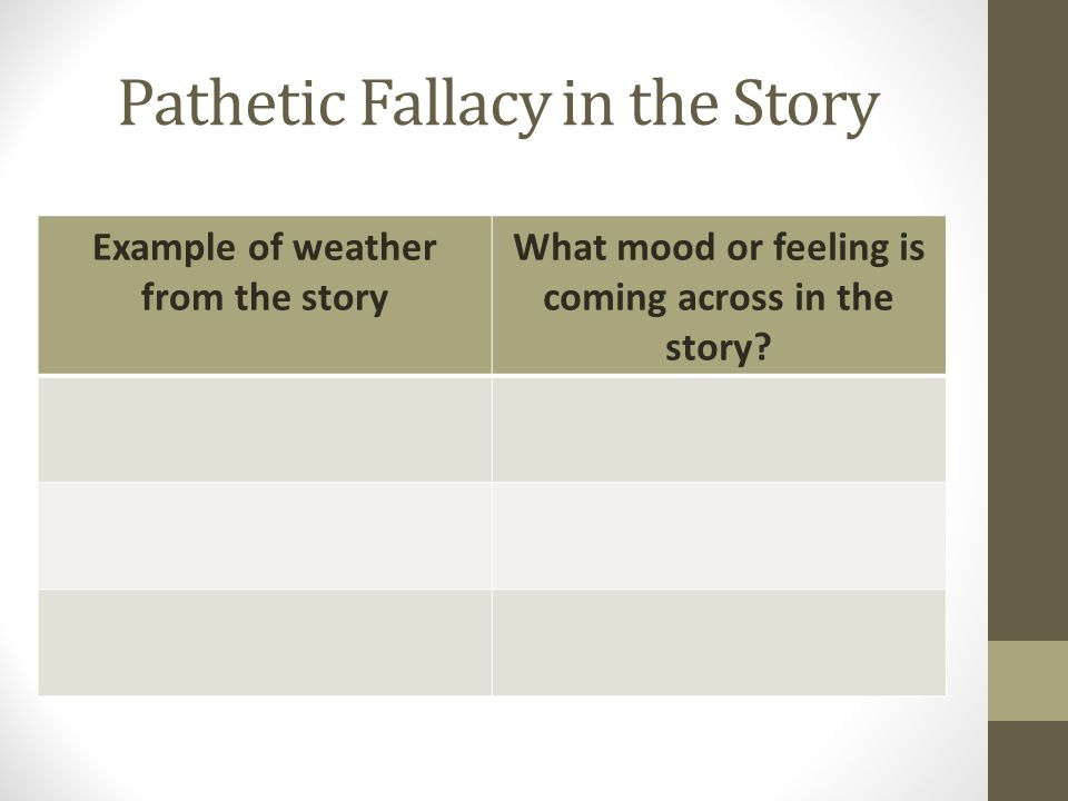 Pathetic Fallacy in the Story Example of weather from the story What mood or feeling is coming across in the story?