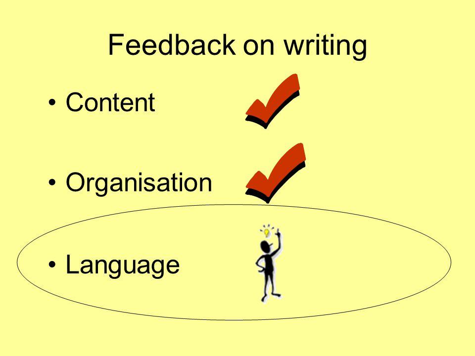 Feedback on writing Content Organisation Language
