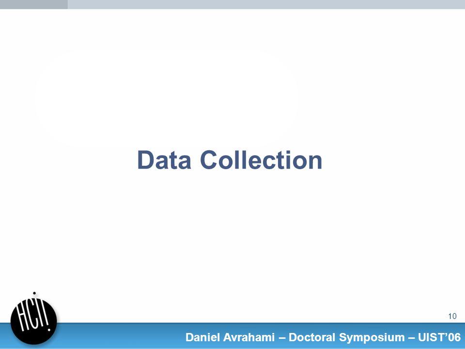 10 Daniel Avrahami – Doctoral Symposium – UIST06 Data Collection