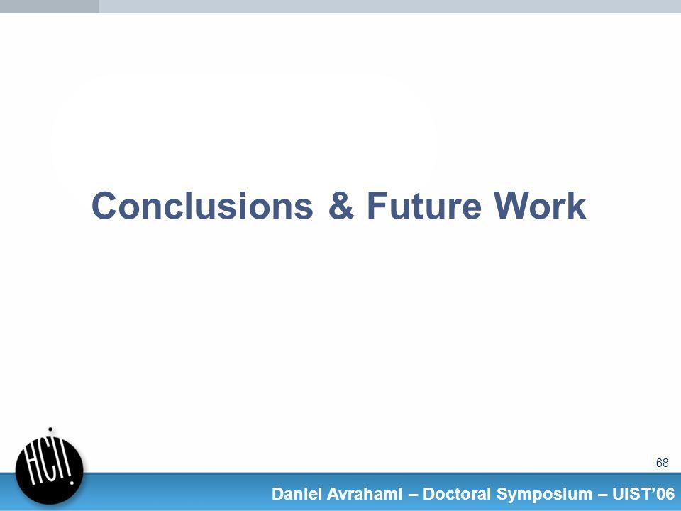 68 Daniel Avrahami – Doctoral Symposium – UIST06 Conclusions & Future Work