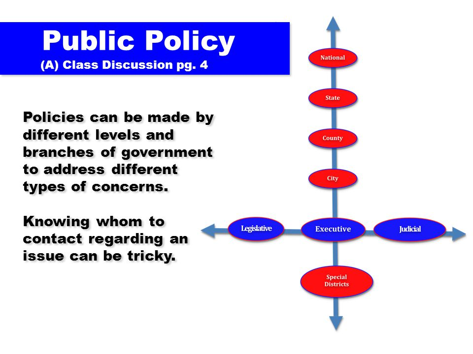 Policies can be made by different levels and branches of government to address different types of concerns. Knowing whom to contact regarding an issue