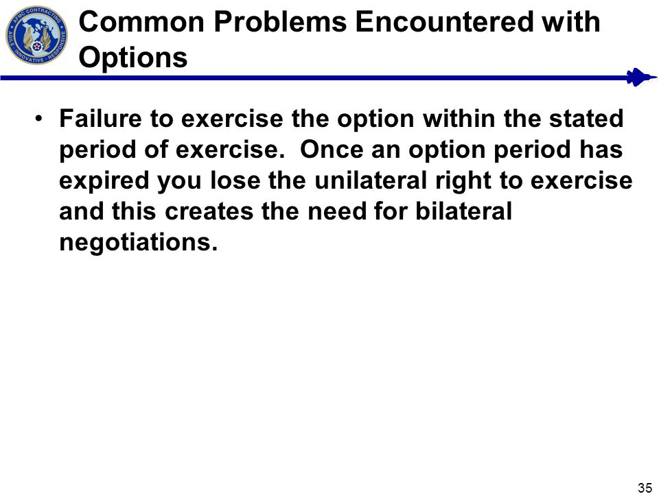 35 Common Problems Encountered with Options Failure to exercise the option within the stated period of exercise.