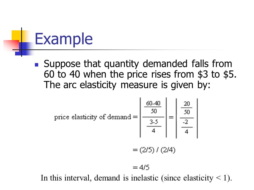 Example Suppose that quantity demanded falls from 60 to 40 when the price rises from $3 to $5. The arc elasticity measure is given by: In this interva