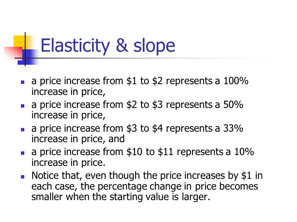 Determinants of price elasticity Price elasticity is relatively high when: close substitutes are available, the good or service is a large share of the consumer s budget, and a longer time period is considered.
