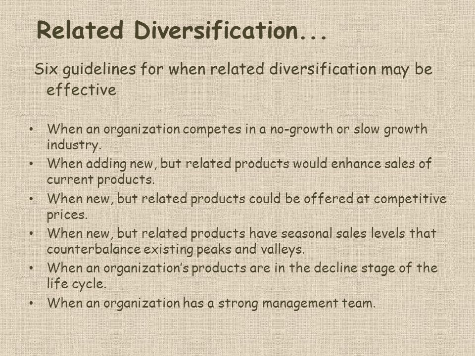 Related Diversification...