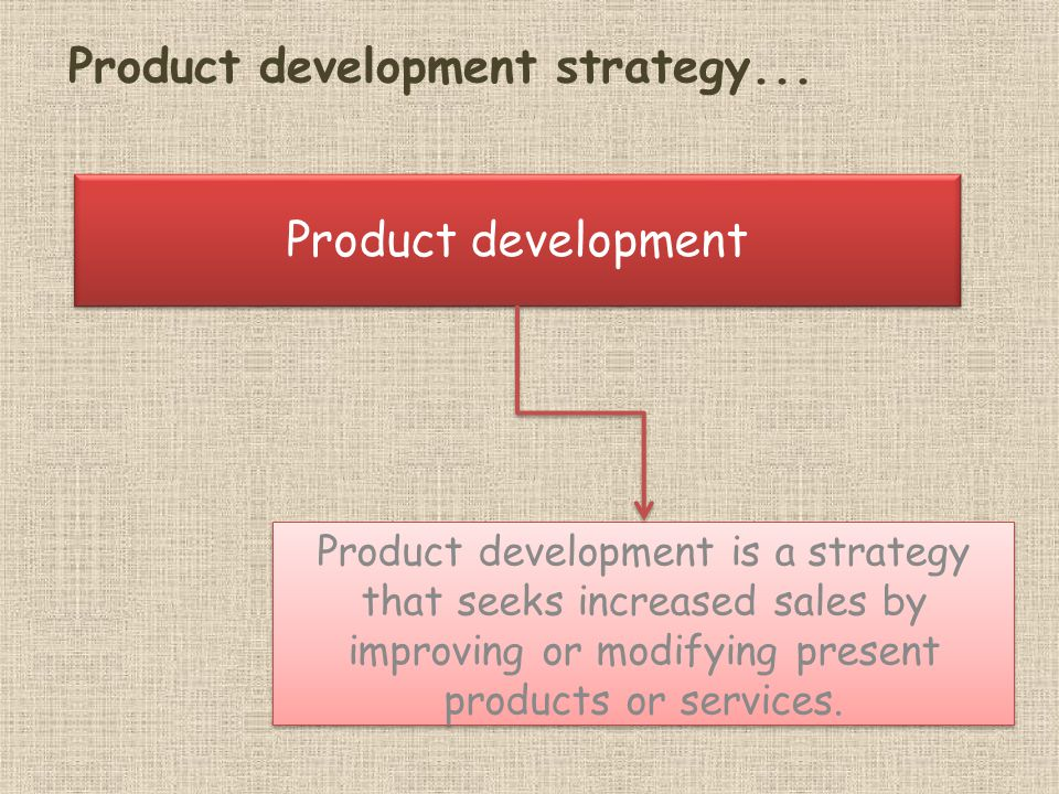 Product development Product development is a strategy that seeks increased sales by improving or modifying present products or services.