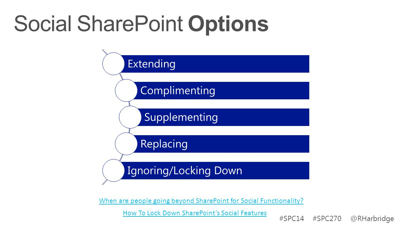 #SPC14 #SPC270 @RHarbridge When are people going beyond SharePoint for Social Functionality? Extending Complimenting Supplementing Replacing Ignoring/