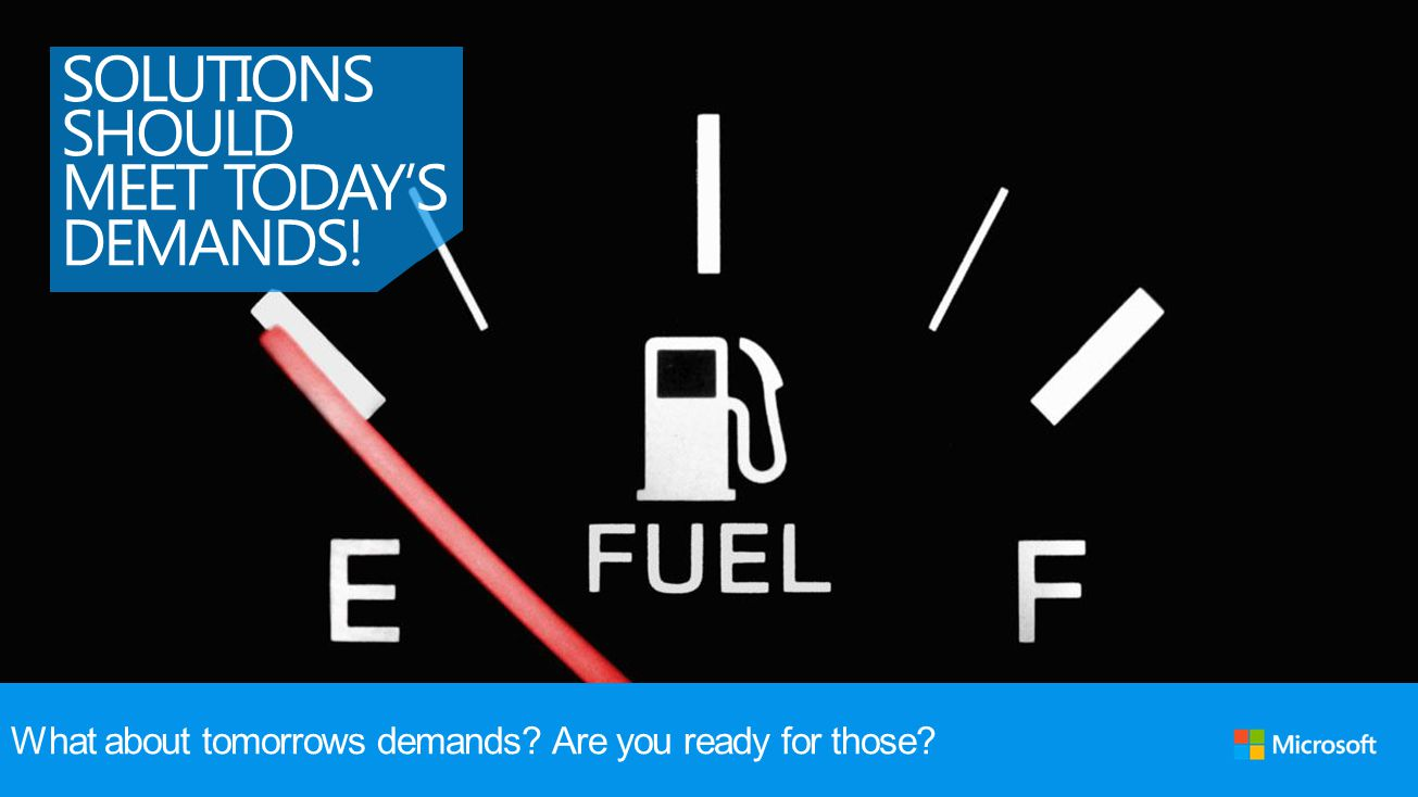 SOLUTIONS SHOULD MEET TODAYS DEMANDS! What about tomorrows demands? Are you ready for those?