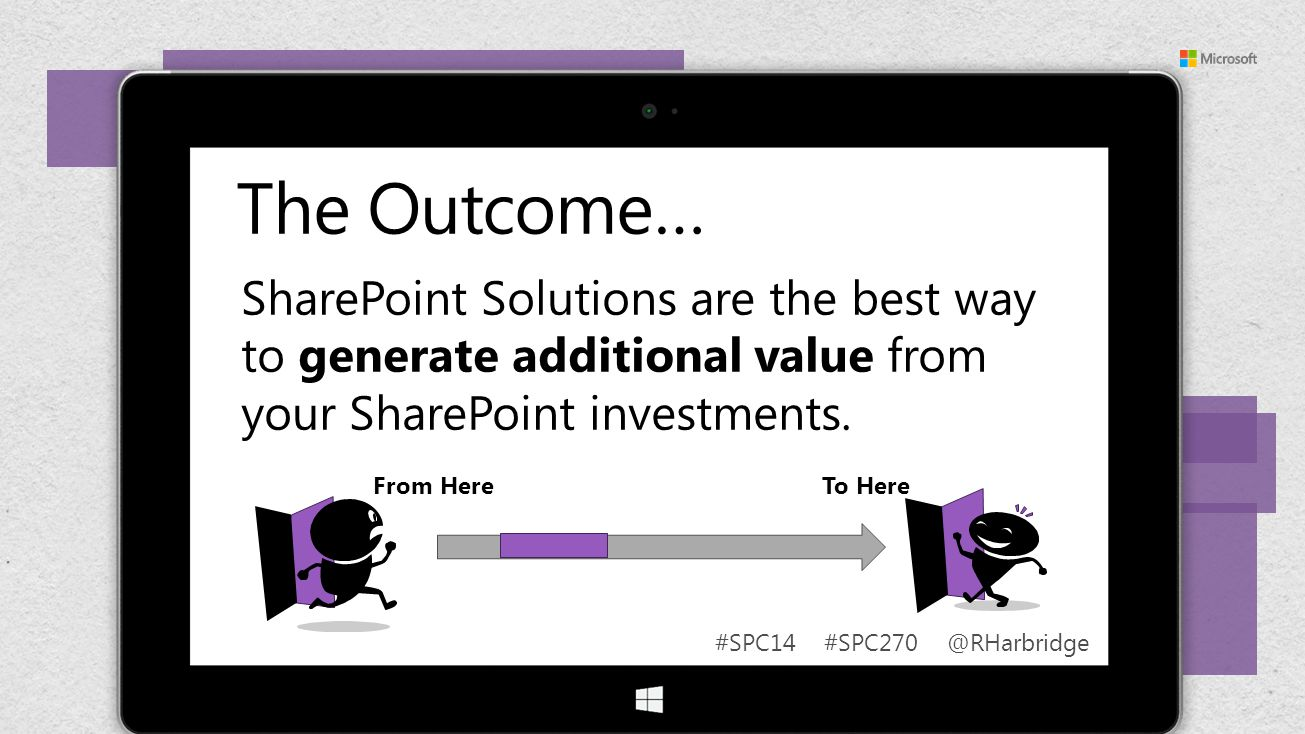 #SPC14 #SPC270 @RHarbridge From Here To Here The Outcome… SharePoint Solutions are the best way to generate additional value from your SharePoint inve