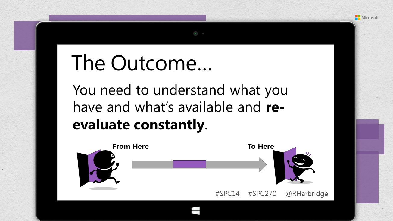 #SPC14 #SPC270 @RHarbridge The Outcome… From Here To Here You need to understand what you have and whats available and re- evaluate constantly.