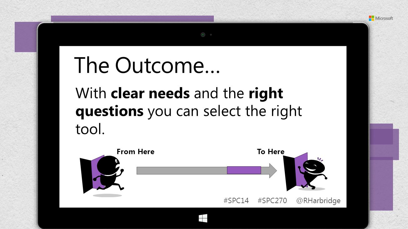 #SPC14 #SPC270 @RHarbridge The Outcome… From Here To Here With clear needs and the right questions you can select the right tool.
