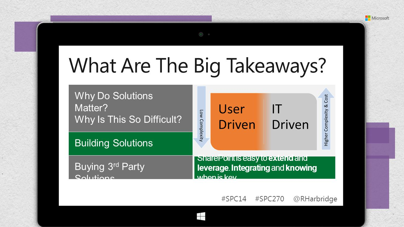 #SPC14 #SPC270 @RHarbridge SharePoint is easy to extend and leverage. Integrating and knowing when is key.