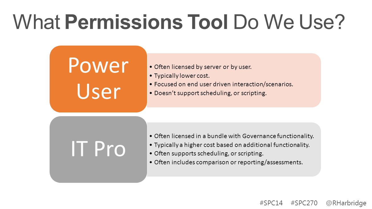#SPC14 #SPC270 @RHarbridge Often licensed by server or by user. Typically lower cost. Focused on end user driven interaction/scenarios. Doesnt support