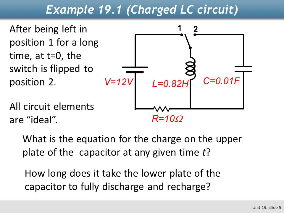 L=0.82H Example 19.1 (Charged LC circuit) Unit 19, Slide 9 1 2 After being left in position 1 for a long time, at t=0, the switch is flipped to positi
