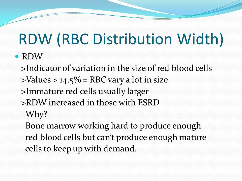 RDW (RBC Distribution Width) RDW >Indicator of variation in the size of red blood cells >Values > 14.5% = RBC vary a lot in size >Immature red cells u
