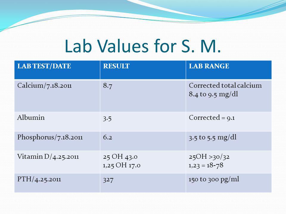 Lab Values for S. M. LAB TEST/DATERESULTLAB RANGE Calcium/7.18.20118.7Corrected total calcium 8.4 to 9.5 mg/dl Albumin3.5Corrected = 9.1 Phosphorus/7.