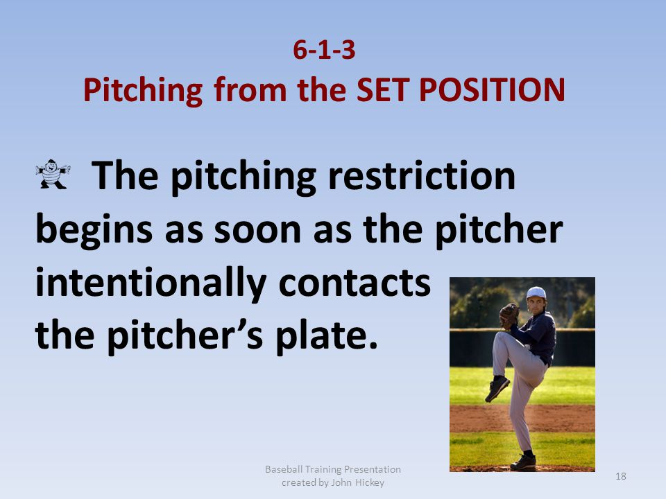 6-1-2 Pitching in the WIND-UP Baseball Training Presentation created by John Hickey After the pitcher has placed his pivot foot clearly behind the pit