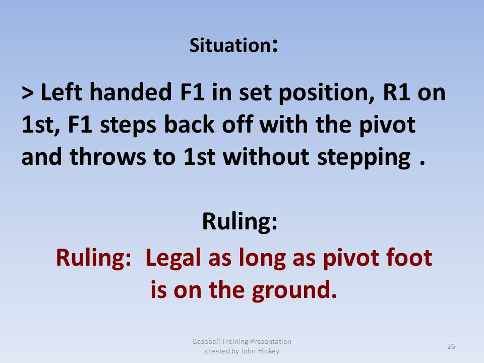 6-1-32 Pitching from the SET POSITION Be aware of left handed pitchers throwing prior to the pivot foot on the ground. Baseball Training Presentation