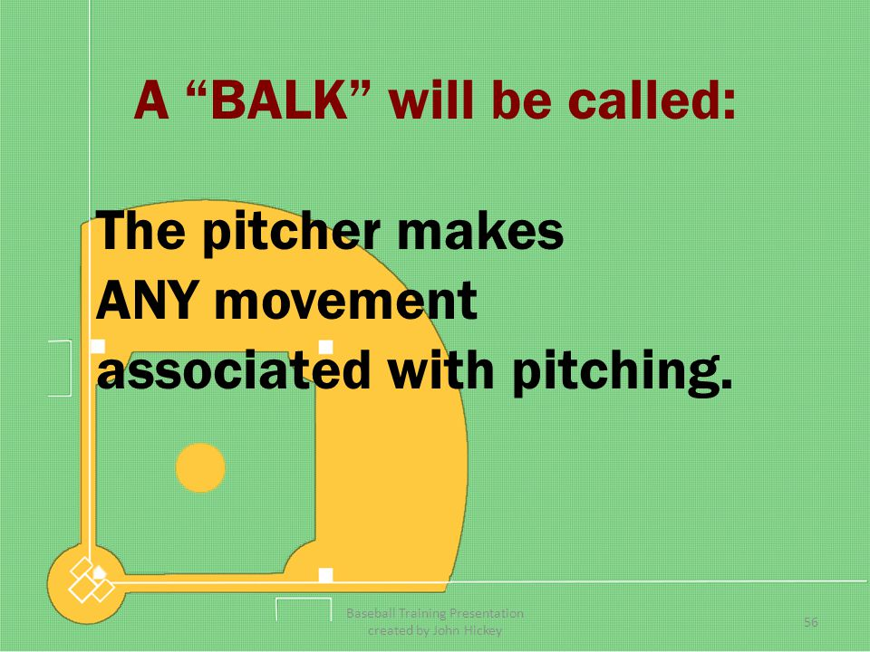 A BALK will be called: The pitcher is within 5 feet of the rubber without having the ball, 55 Baseball Training Presentation created by John Hickey
