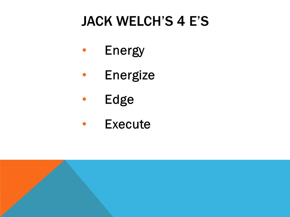 JACK WELCHS 4 ES Energy Energize Edge Execute