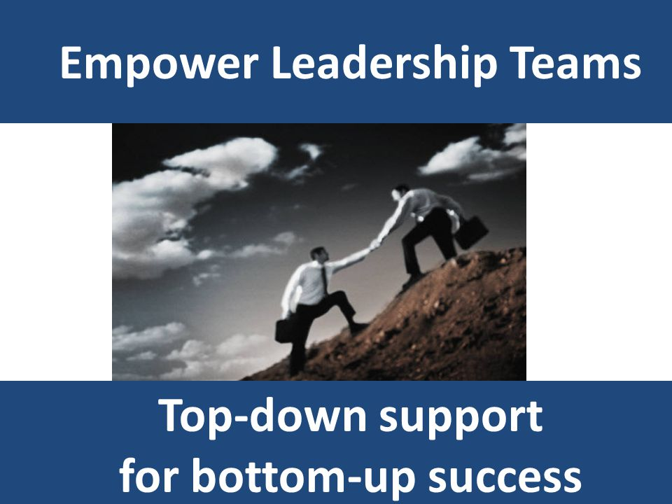 Empower Leadership Teams Top-down support for bottom-up success