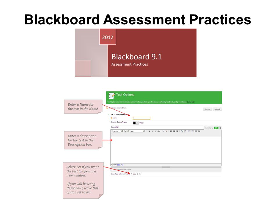 Blackboard Assessment Practices