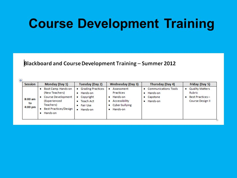 Course Development Training