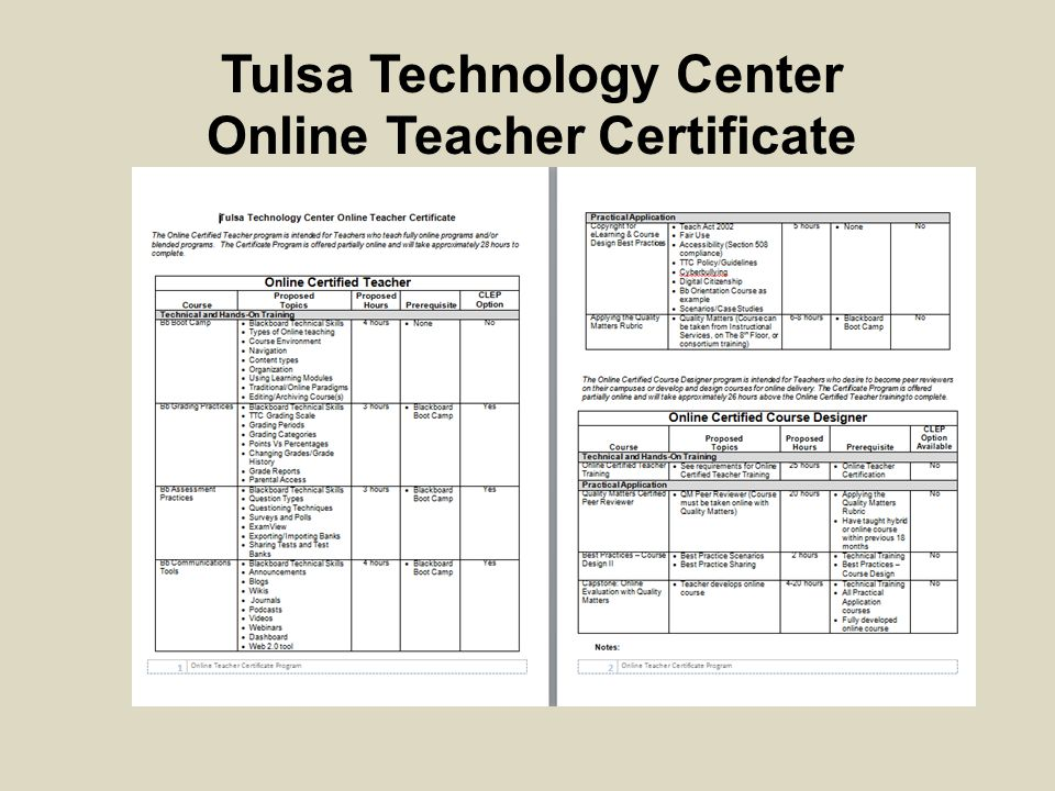 Tulsa Technology Center Online Teacher Certificate
