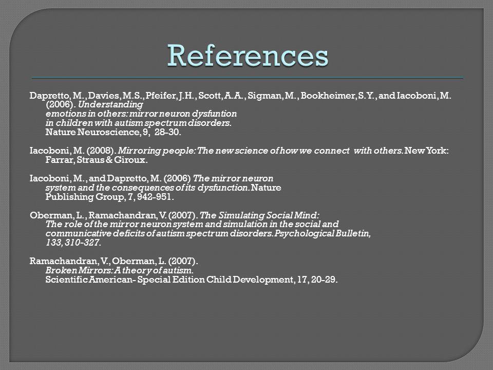 Dapretto, M., Davies, M.S., Pfeifer, J.H., Scott, A.A., Sigman, M., Bookheimer, S.Y., and Iacoboni, M. (2006). Understanding emotions in others: mirro