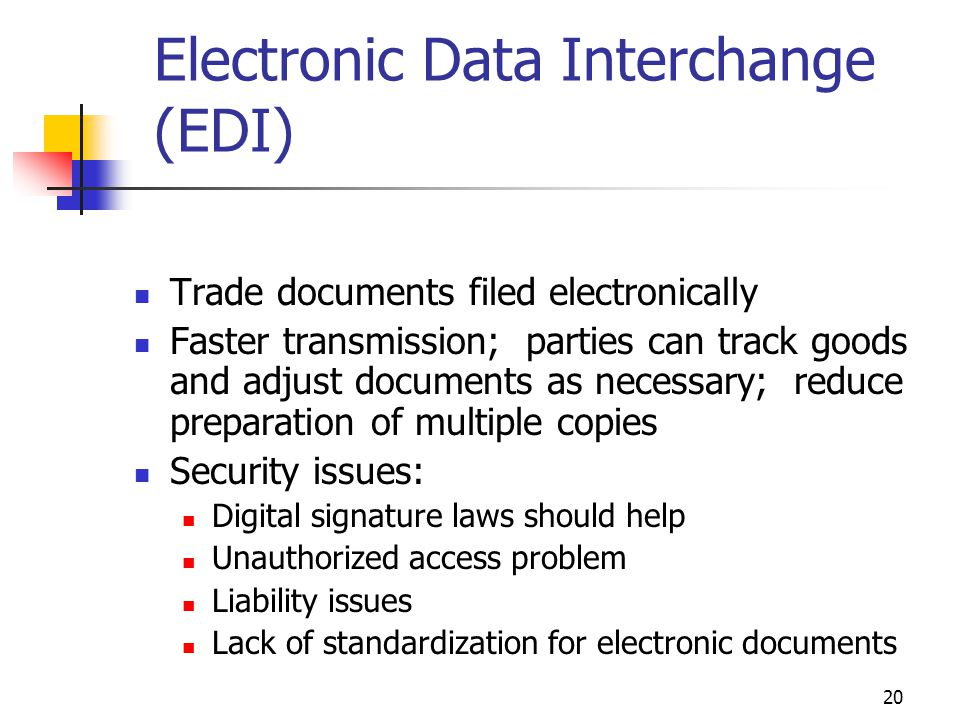 20 Electronic Data Interchange (EDI) Trade documents filed electronically Faster transmission; parties can track goods and adjust documents as necessa