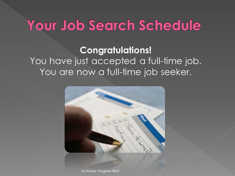 Congratulations. You have just accepted a full-time job.