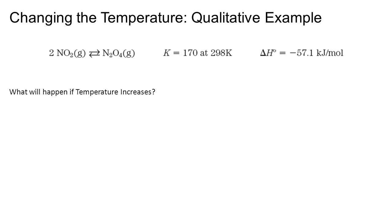 Changing the Temperature: Qualitative Example What will happen if Temperature Increases?