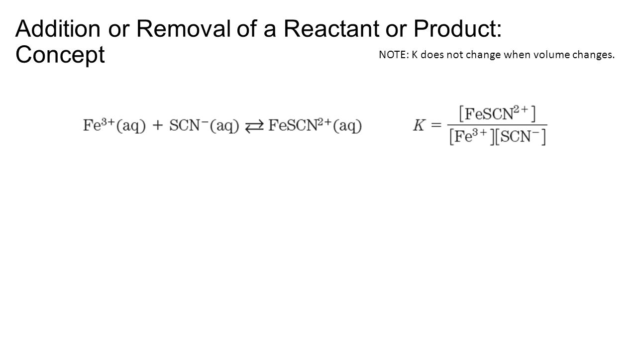 Addition or Removal of a Reactant or Product: Concept NOTE: K does not change when volume changes.