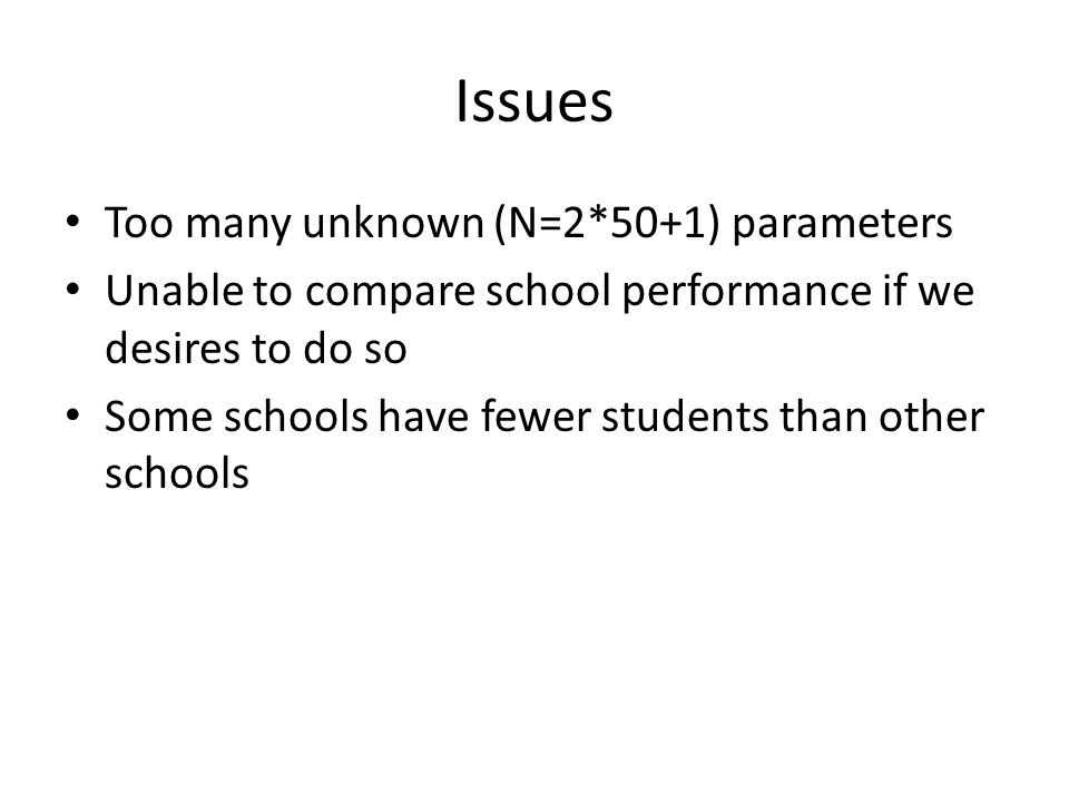 Issues Too many unknown (N=2*50+1) parameters Unable to compare school performance if we desires to do so Some schools have fewer students than other schools