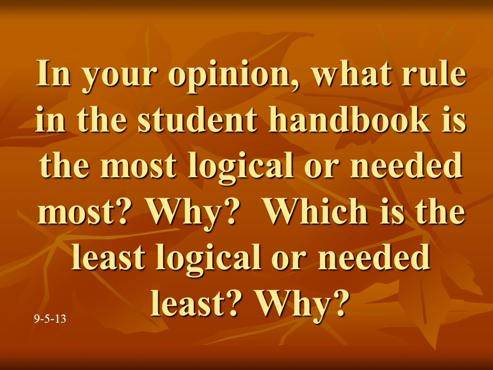 In your opinion, what rule in the student handbook is the most logical or needed most.