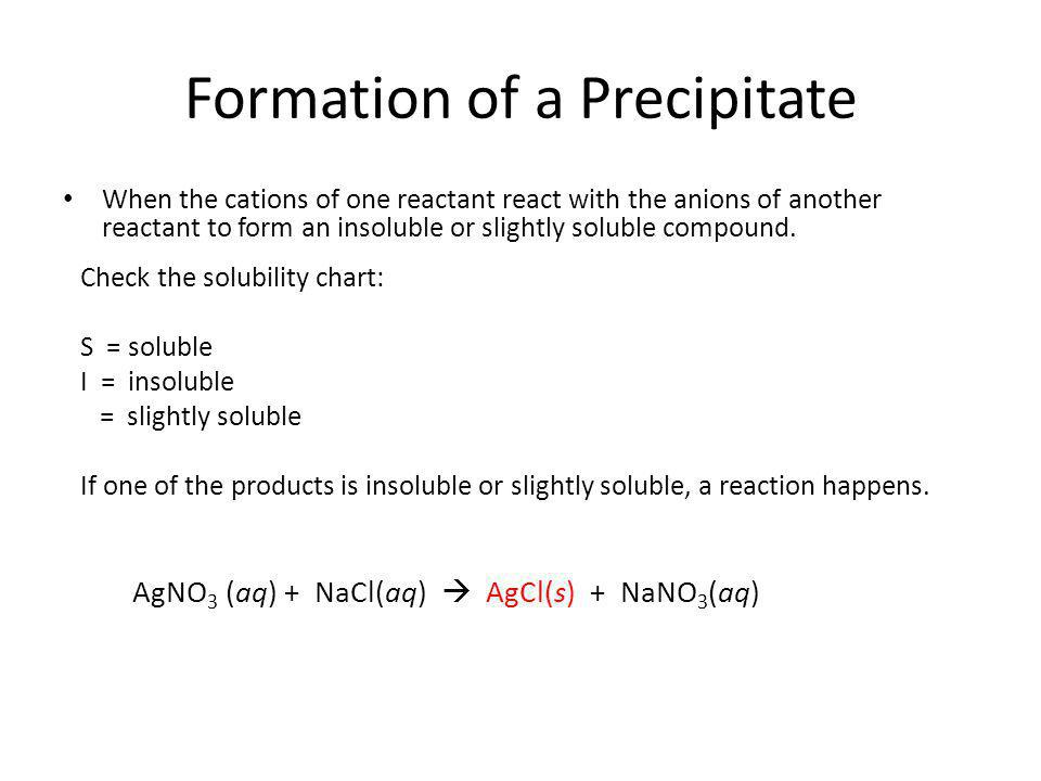 Formation of a Precipitate When the cations of one reactant react with the anions of another reactant to form an insoluble or slightly soluble compound.