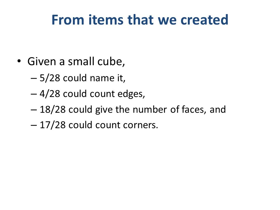 From items that we created Given a small cube, – 5/28 could name it, – 4/28 could count edges, – 18/28 could give the number of faces, and – 17/28 could count corners.