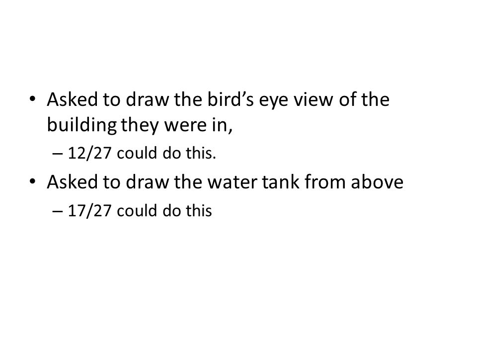 Asked to draw the birds eye view of the building they were in, – 12/27 could do this.