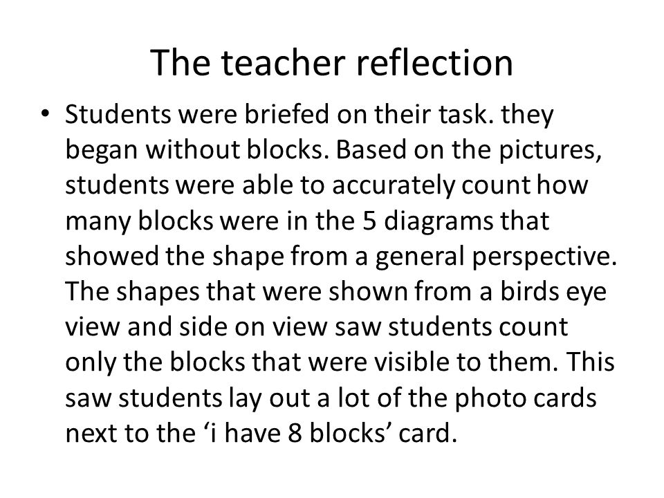 The teacher reflection Students were briefed on their task.