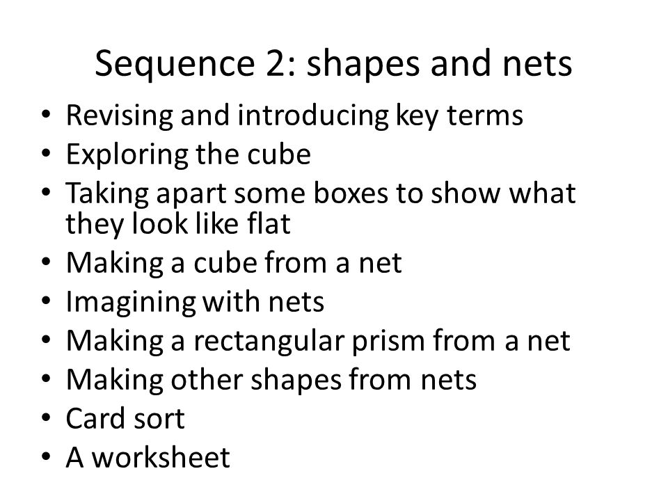 Sequence 2: shapes and nets Revising and introducing key terms Exploring the cube Taking apart some boxes to show what they look like flat Making a cube from a net Imagining with nets Making a rectangular prism from a net Making other shapes from nets Card sort A worksheet