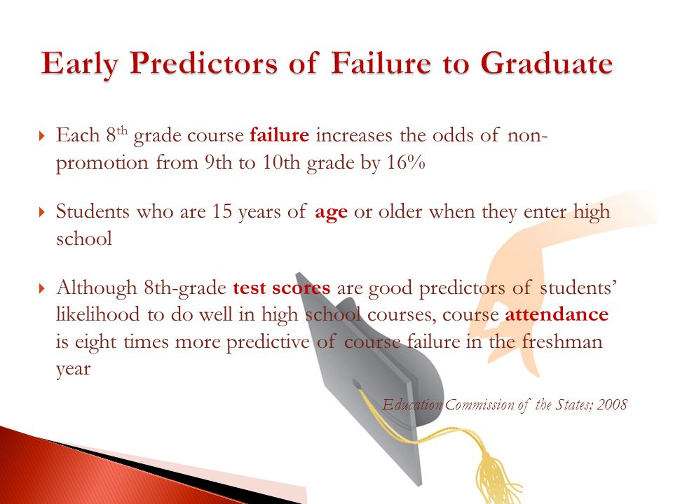Each 8 th grade course failure increases the odds of non- promotion from 9th to 10th grade by 16% Students who are 15 years of age or older when they enter high school Although 8th-grade test scores are good predictors of students likelihood to do well in high school courses, course attendance is eight times more predictive of course failure in the freshman year Education Commission of the States; 2008
