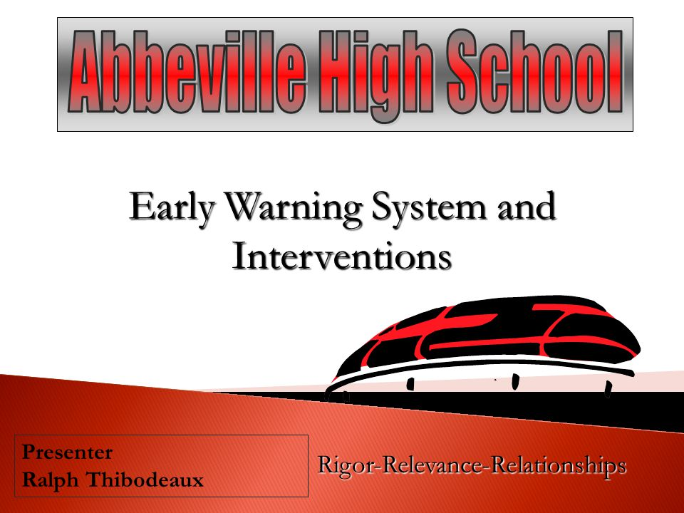 Early Warning System and Interventions Rigor-Relevance-Relationships Presenter Ralph Thibodeaux