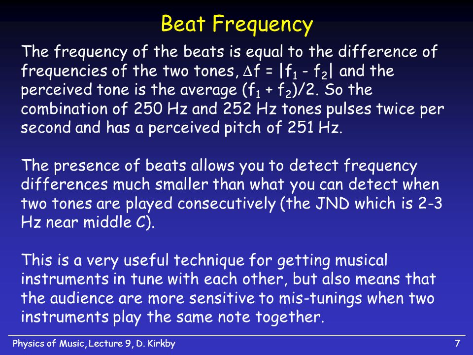 Physics of Music, Lecture 9, D.