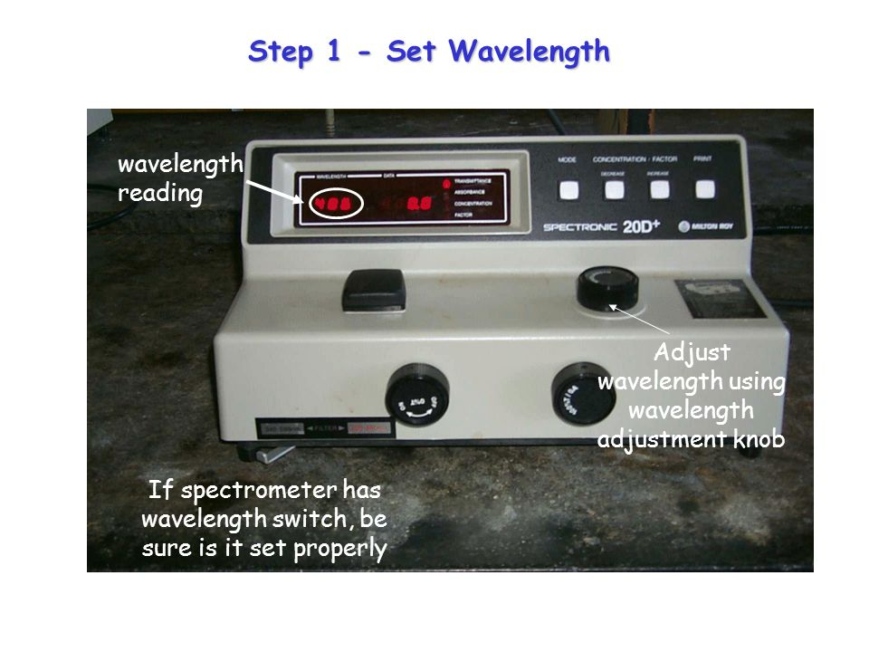 Step 1 - Set Wavelength If spectrometer has wavelength switch, be sure is it set properly Adjust wavelength using wavelength adjustment knob wavelength reading