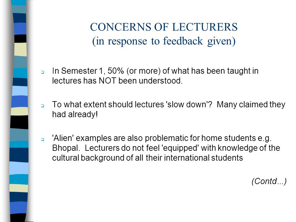 CONCERNS OF LECTURERS (in response to feedback given) In Semester 1, 50% (or more) of what has been taught in lectures has NOT been understood.