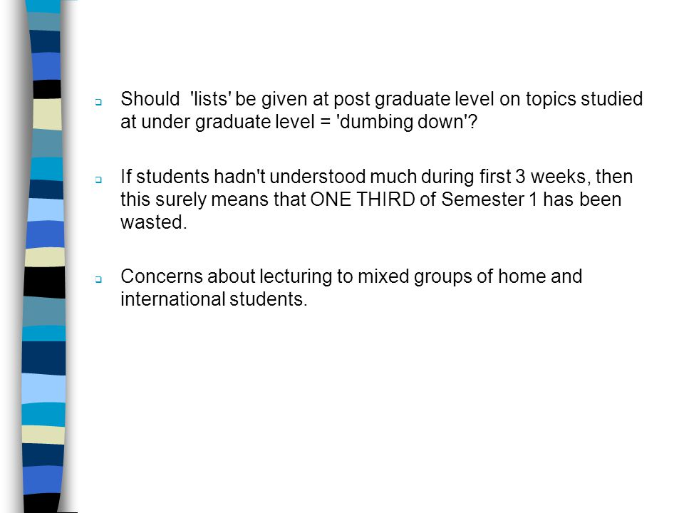 Should lists be given at post graduate level on topics studied at under graduate level = dumbing down .