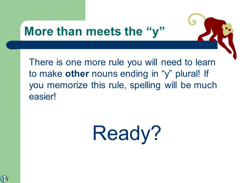 Last Weeks Words Last week, you learned the first rule of how to make nouns ending in y plural.