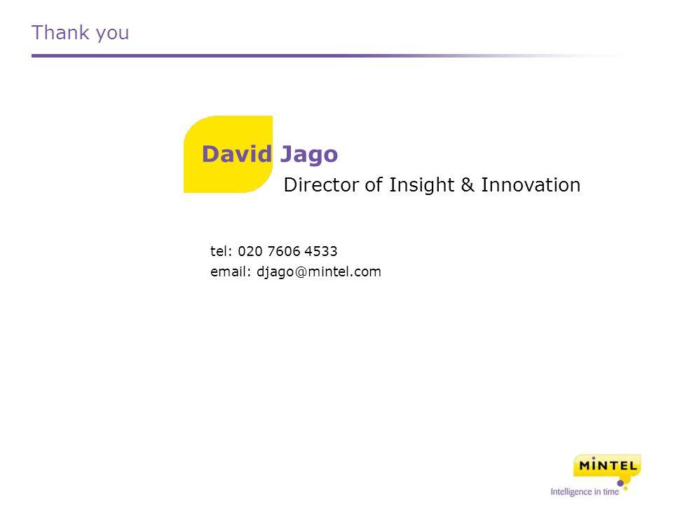 Thank you tel: 020 7606 4533 email: djago@mintel.com Director of Insight & Innovation David Jago