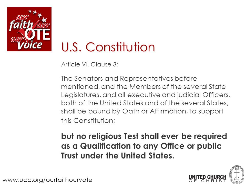 U.S. Constitution Article VI, Clause 3: The Senators and Representatives before mentioned, and the Members of the several State Legislatures, and all